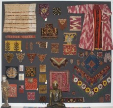 Collection of antique textiles on display at Behruz Studio