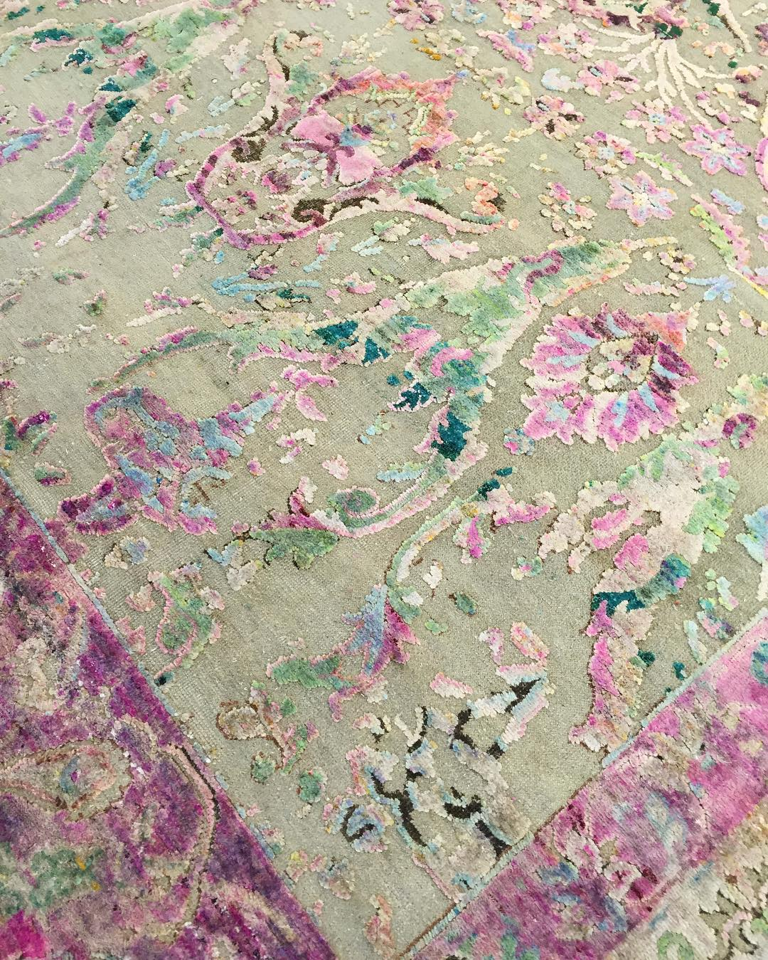 A close up of the rug featured...